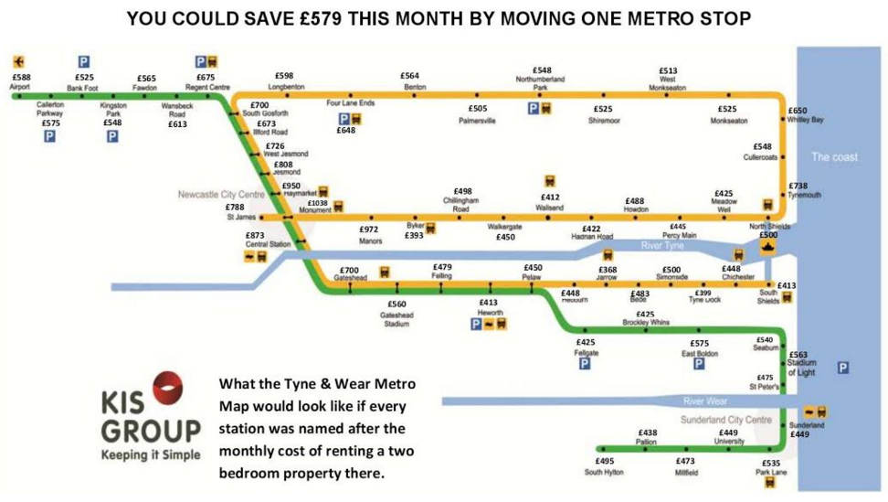 Tyne and Wear rents vary by Metro station LandlordZONE
