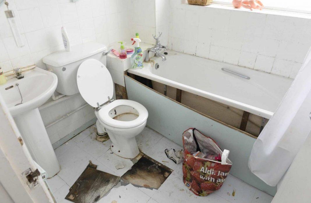 wrecked bathroom